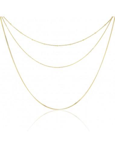Gargantilla triple cadena dorado