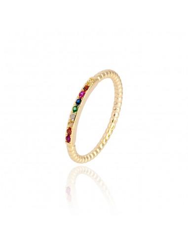 Anillo mini stone rainbow dorado
