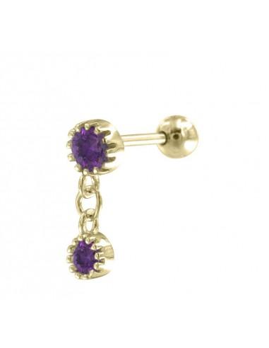 Minipendientes double stone purple
