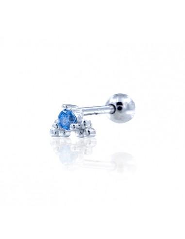 Minipendiente bleu rodio