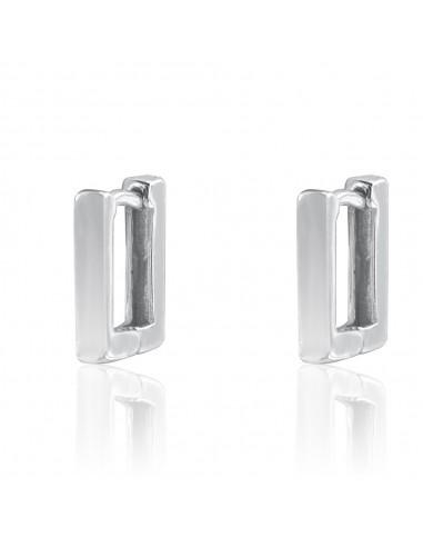 Pendientes rectangular small rodio