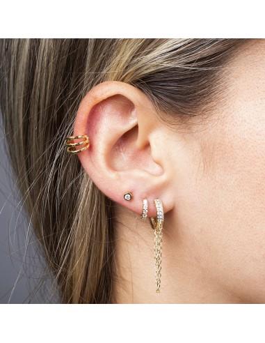 Ear cuff triple aro dorado