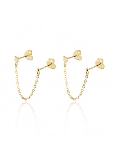 Pendientes double piercing star dorado