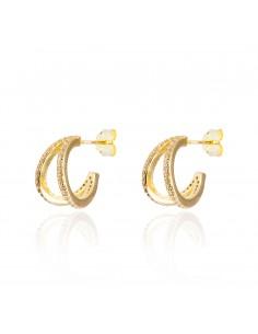 Pendientes doble ring dorado