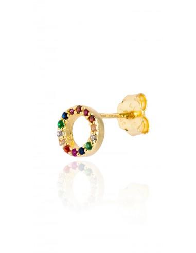Pendiente Círculo multicolor Dorado