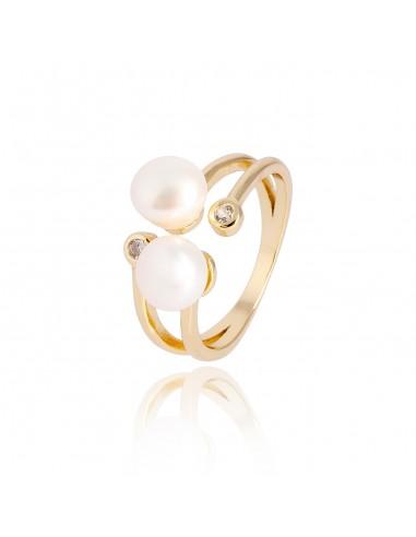 Anillo double pearl dorado